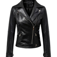 Black Long Sleeve Zipped Leather Jacket