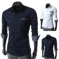 New Designer Men Fashion Slim Fit Dress Shirt