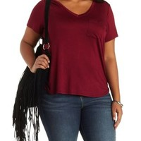 Plus Size Burgundy Basic Boyfriend Pocket Tee by Charlotte Russe