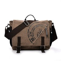 Vere Gloria Canvas Messenger Bag Casual Travel Shoulder Bags Large Capacity Handbag 14 Inch Laptop Cross Body Bags for Middle High School College Students
