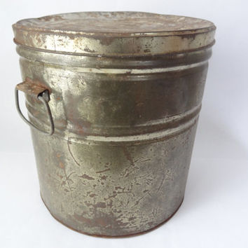 large tin vintage potato chip metal container storage