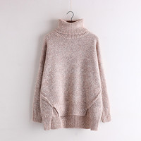 High Collar Loose Split Knitting Sweater