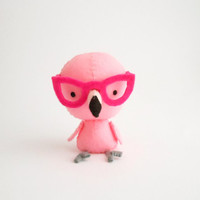 Pink flamingo plush, softie with glasses, made to order