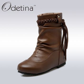 Odetina Fringe Brown Ankle Boots Pleated Warm Winter Boots Waterproof Female Short Boots PU Leather Woman Casual Winter Shoes
