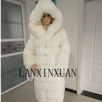 Hooded fur coat faux fur mink coat 2016 new fashion winter hooded long section of thick warm fur coat women's leisure