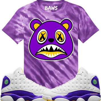 LA BAWS Purple Tye Dye Sneaker Tees Shirt - Jordan 13 Los Angeles Lakers