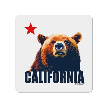 "California Republic Design - Grizzly Bear and Star 4x4"" Square Sticker by TooLoud"