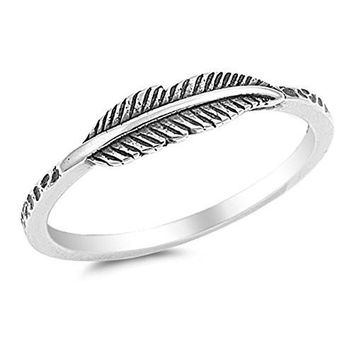 Oxidized Leaf Fashion Ring New .925 Sterling Silver Band