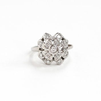 Vintage 14k White Gold Four Leaf Clover Diamond Flower Cluster Ring - Size 5 Mid-Century 1940s Unique Wedding Engagement Fine Bridal Jewelry