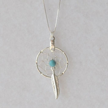 American Indian Jewelry - Turquoise Dream Catcher Jewelry, Turquoise Dreamcatcher Jewelry with Sterling Silver Chain, Turquoise Dreamcatcher