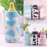 Feeding Bottle Squishy Toy Milk Cow Print Scented Children Playset for Cell Phone Charm