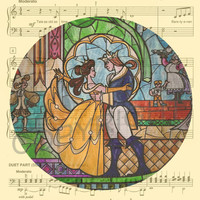Beauty and the Beast Stained Glass Art Print