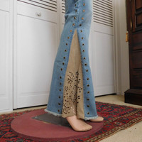 Bell Bottom Jeans Hippie Style Clothes rivets Suede Insert Reworked Jeans Indie Folk Fashion Grommet Laced