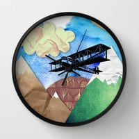 Paper plans Wall Clock by Li9z | Society6