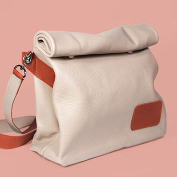 "High Quality Handmade Italian Leather Bag ""Chandler Cream"" / Beige Handbag on a strap / Lunchbag"