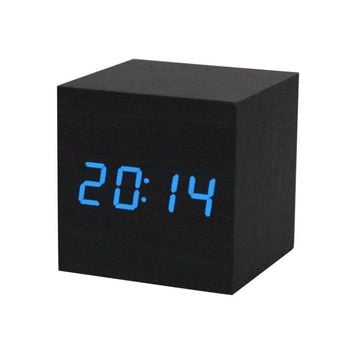 Happy Gifts High Quality Green Blue 1PC Digital LED Black Wooden Wood Desk Clock Voice Control