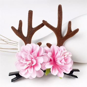 2017 New Girls Cute Antler Flower Birthday Hair Clips Party Christmas Photo Women Kids Lovely Deer Horn Floral Hairpin Barrettes