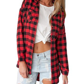 2019 Hot Sale Autumn Winter Ladies Female Casual Cotton Lapel Long-Sleeve Plaid Shirt Women Slim Outerwear Blouse Tops Clothing