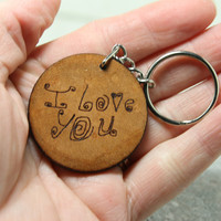 Personalized Custom Handwriting key chain Double sided leather key chain