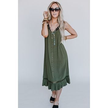 Don't Hesitate Button Down Dress - Olive