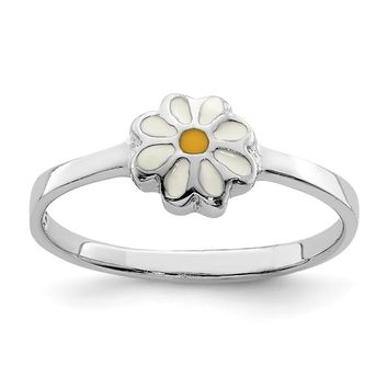 925 Sterling Silver Rhodium-plated Child's White and Yellow Enamel Daisy Ring