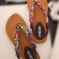 Colorful Braided Flat Sandals AXC060506