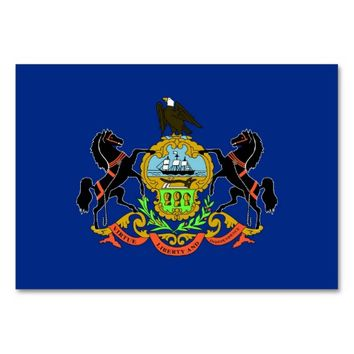 Patriotic table card with Flag of Pennsylvania