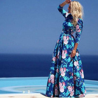 New Women Lady Short Sleeve Boho Beach Floral Fashion Chic Elegant Sweet Sexy Casual Vogue Slim Fit Skirt Long Dress