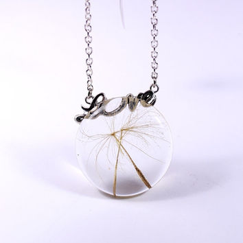 Statement Flower Pendant With Real Dandelion. Handmade Make a Wish Charm Jewellry Round Big Necklace. Mother's Day Gift Idea. Gift For Her