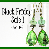 Perfect Peridot Green Drop Earrings, Vintage Rhinestone Earrings