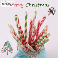 FENGRISE 25pcs Paper Drinking Straws Merry Christmas Decorations Supplies Colorful Striped Polka Xmas Party Supplies For Home