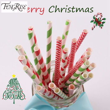 FENGRISE 25pcs Paper Drinking Straws Merry Christmas Decoration Supplies Colorful Striped Polka Xmas Party Supplies