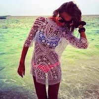 Zeagoo Womens Lace Crochet Bikini Cover Up Beach Dress Pullover Blouse