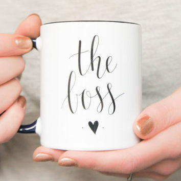 Boss Mug Gift Tea / Coffee cup. black and white CEO handlettered calligraphy feminine design for entrepreneurs. Business shop owner mug