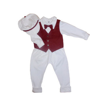 Boys outfit, baby boy first outfit, baptism set made of organic cotton,  festive outfit for boy, christening set