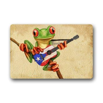 "Autumn Fall welcome door mat doormat Special Design Tree Frog Playing Puerto Rico Flag Guitar s  23.6""(L) x 15.7""(W) Cheapest AT_76_7"