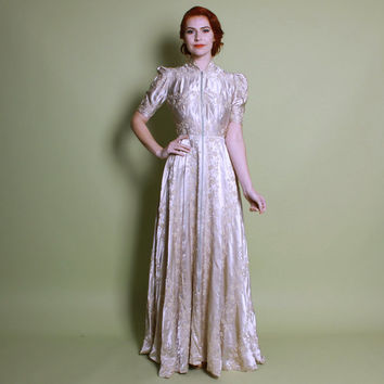 40s Champagne Zip Front DRESSING GOWN / Embroidered Satin Bridal Robe, s