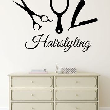 Large Vinyl Decal Wall Sticker Beauty Hair Salon Tools Hairstyling Studio Decor (n830)