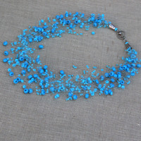 Blue Necklace. Wedding Necklace. Beadwork.  Multistrand Necklace.