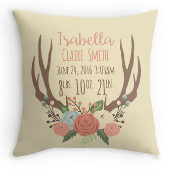 Personalized Girl Antler Birth Announcement Pillow