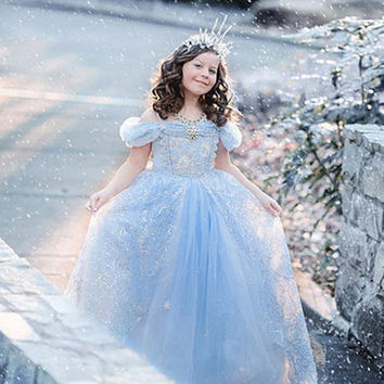 Europe frozen girls dress bubble sleeve princess dress wedding party girls dresses chrismas clothes toddler teenager clothing 9