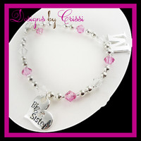 Design your own Big Sister or Lil Sister Initial Charm Crystal Bracelet - choose your color(s)!