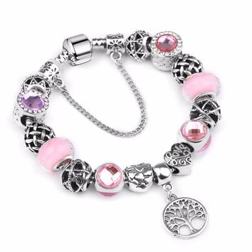 2018 New Vintage Silver Charm Bangle & Bracelet with Tree of life Pendant & Pink Crystal Ball P Bracelet Dropshipping