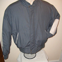 Members Only Down Jacket / Coat   Grey Gray  w/ beige elbow patched  Large 42