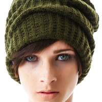 Plush Edie Fleece Lined Thermal Knit Hat Army Green One