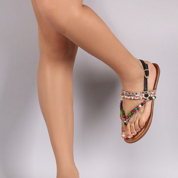 Liliana Beaded Chain Slingback Thong Flat Sandal