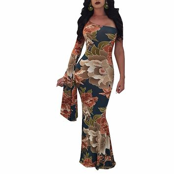Vintage One Shoulder Flare Long Sleeve Mermaid Dress Women Floral Print Boho Style Floor Length Maxi Dresses Plus Size Vestidos