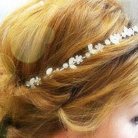 Silver Crystal Floral Leaves Hair Crown