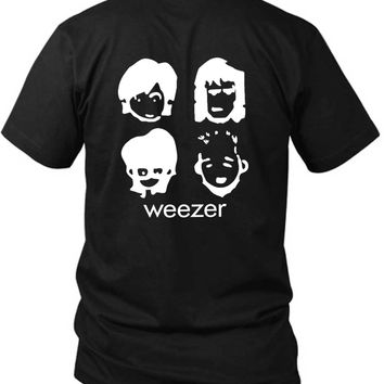 Weezer Cartoon Black And White 2 Sided Black Mens T Shirt