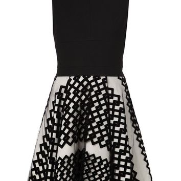 David Koma flock layer a-line dress
